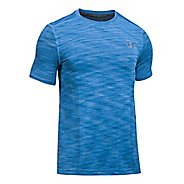 Mens Under Armour Threadborne Seamless Short Sleeve Technical Tops - Mako Blue/Graphite L