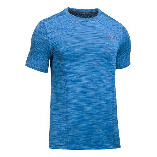 Mens Under Armour Threadborne Seamless Short Sleeve Technical Tops - Mako Blue/Graphite XL