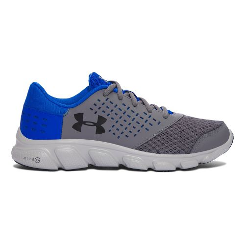 Kids Under Armour Micro G Rave RN Running Shoe - Grey/Blue 4.5Y