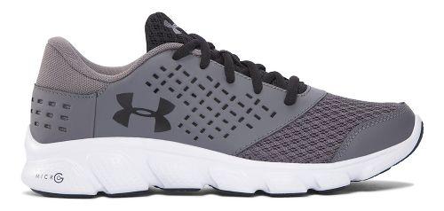 Kids Under Armour Micro G Rave RN Running Shoe - Grey/Black 4.5Y