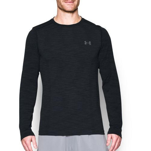 Mens Under Armour Threadborne Seamless Long Sleeve Technical Tops - Black/Graphite L