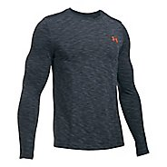 Mens Under Armour Threadborne Seamless Long Sleeve Technical Tops - Stealth Grey/Phoenix XL