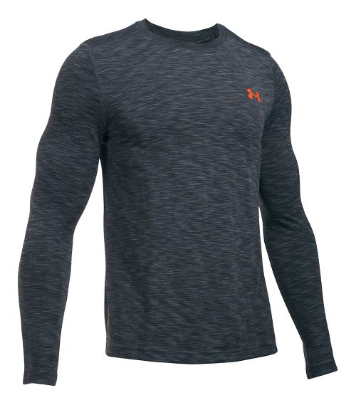 Mens Under Armour Threadborne Seamless Long Sleeve Technical Tops - Stealth Grey/Phoenix L