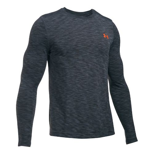 Mens Under Armour Threadborne Seamless Long Sleeve Technical Tops - Stealth Grey/Phoenix M