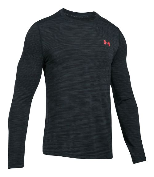 Mens Under Armour Threadborne Seamless Long Sleeve Technical Tops - Anthracite/Red L
