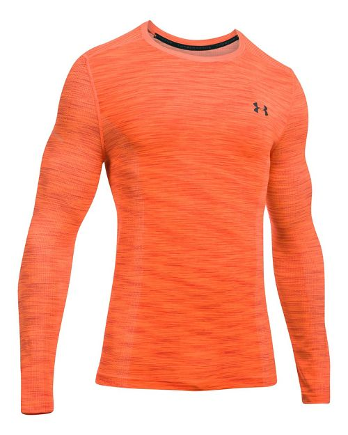 Mens Under Armour Threadborne Seamless Long Sleeve Technical Tops - Orange/Stealth Grey L