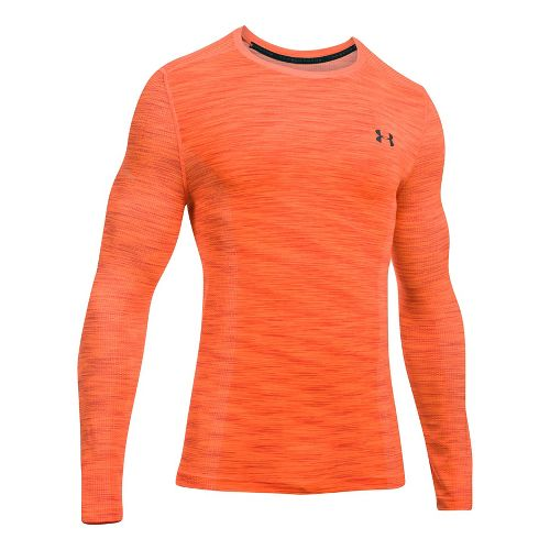 Mens Under Armour Threadborne Seamless Long Sleeve Technical Tops - Orange/Stealth Grey 3XL