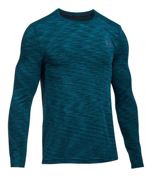 Mens Under Armour Threadborne Seamless Long Sleeve Technical Tops - Bayou Blue/Graphite L