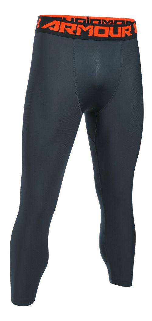 Mens Under Armour HeatGear 2.0 3/4 Legging Capris Tights - Stealth Grey/Phoenix L