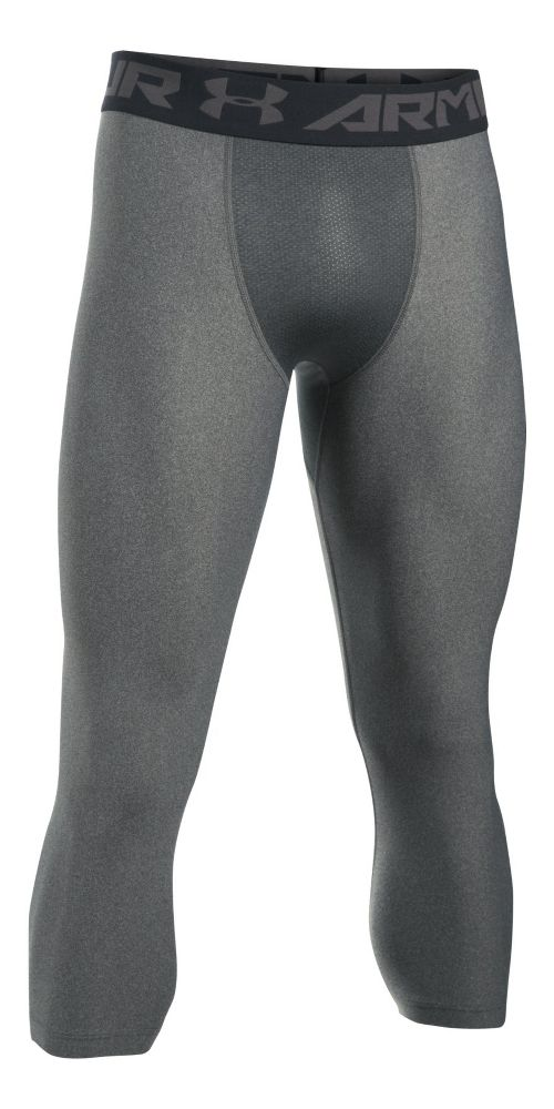 Mens Under Armour HeatGear 2.0 3/4 Legging Capris Tights - Carbon Heather/Black 3XL