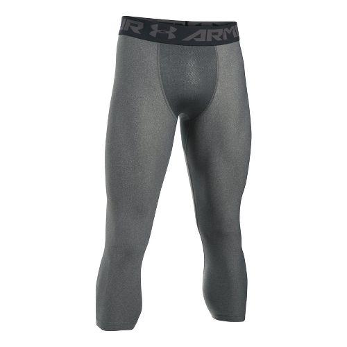 Mens Under Armour 2.0 3/4 Legging Capris Tights - Carbon Heather/Black XXL