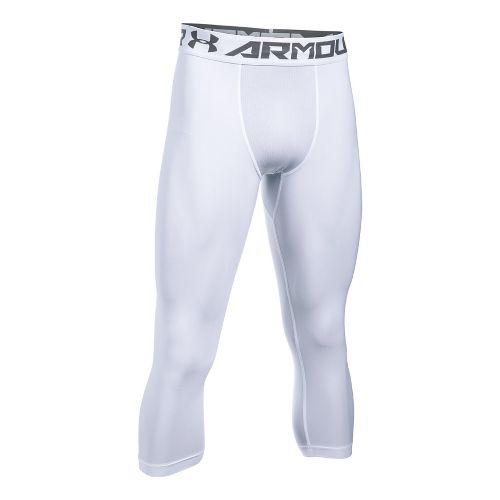 Mens Under Armour HeatGear 2.0 3/4 Legging Capris Tights - White/Graphite XL