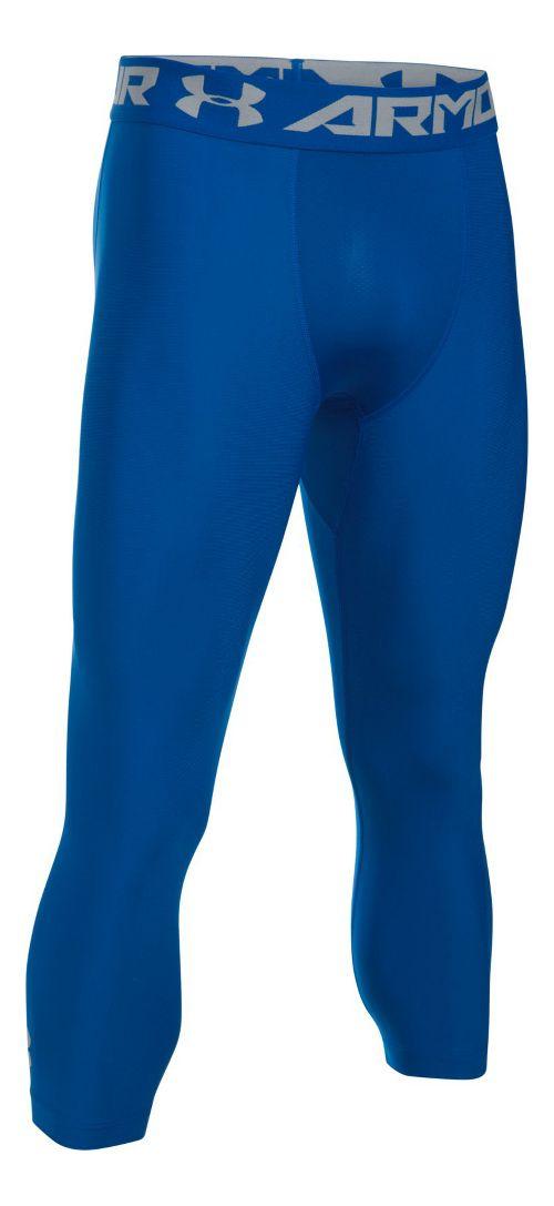 Mens Under Armour HeatGear 2.0 3/4 Legging Capris Tights - Royal/Steel 3XL