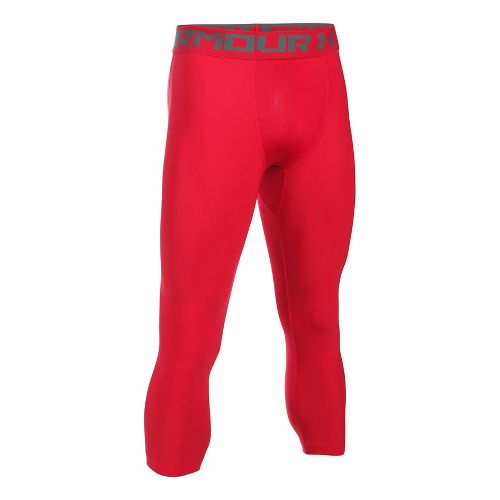 Mens Under Armour HeatGear 2.0 3/4 Legging Capris Tights - Red/Graphite L
