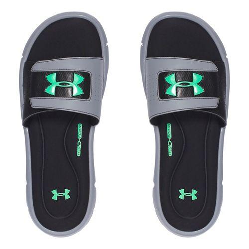 Mens Under Armour Ignite V SL Sandals Shoe - Steel/Green 10