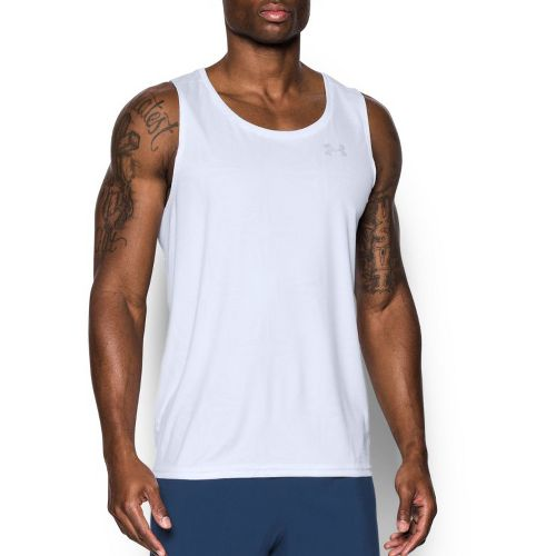 Mens Under Armour Coolswitch Run Singlet V2 Sleeveless & Tank Technical Tops - White S ...
