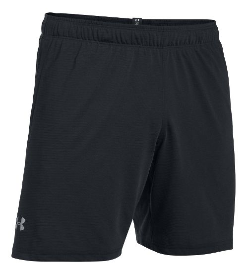 Mens Under Armour Threadborne Run Lined Shorts - Black/Black M