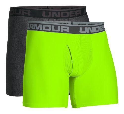 Mens Under Armour Original Series BoxerJock 2 pack Underwear Bottoms - Carbon/Hyper Green 3XL