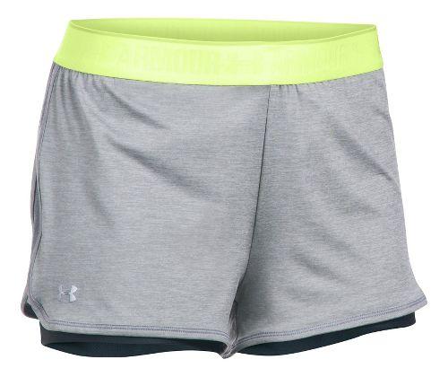 Womens Under Armour Heatgear 2-in-1 Shorty Shorts - True Grey Heather XL