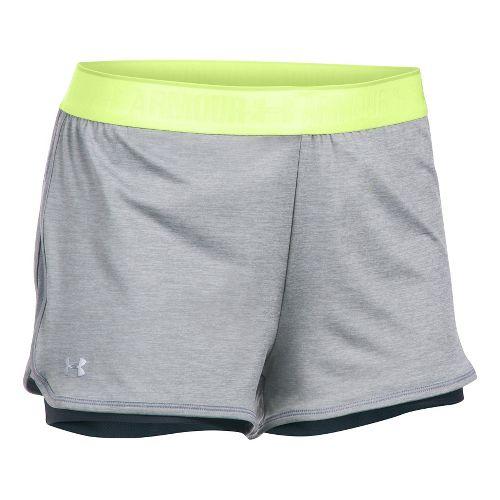 Womens Under Armour Heatgear 2-in-1 Shorty Shorts - True Grey Heather M