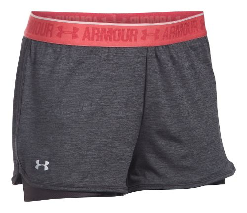 Womens Under Armour Heatgear 2-in-1 Shorty Shorts - Carbon Heather S