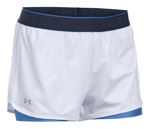 Womens Under Armour Heatgear 2-in-1 Shorty Shorts - White/Mediterranean L