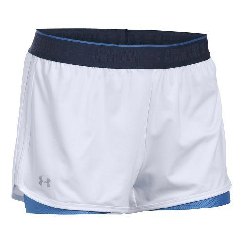 Womens Under Armour Heatgear 2-in-1 Shorty Shorts - White/Mediterranean M