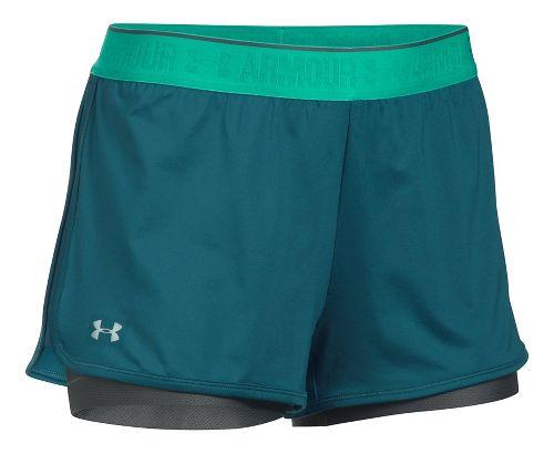 Womens Under Armour Heatgear 2-in-1 Shorty Shorts - Blue/Grey XL