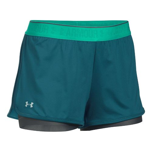 Womens Under Armour Heatgear 2-in-1 Shorty Shorts - Blue/Grey M