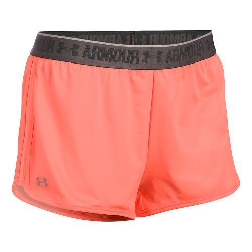 Womens Under Armour Heatgear 2-in-1 Shorty Shorts - Orange/Charcoal L