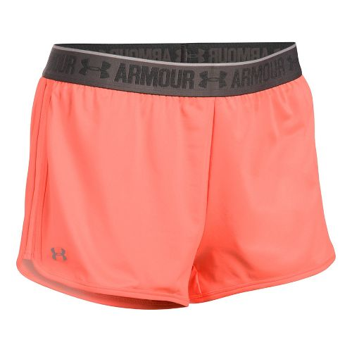 Womens Under Armour Heatgear 2-in-1 Shorty Shorts - Orange/Charcoal XL