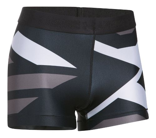 Womens Under Armour Heatgear Engineered Shorty Unlined Shorts - Black/Metallic L
