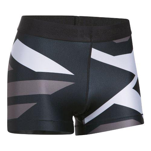 Womens Under Armour Heatgear Engineered Shorty Unlined Shorts - Black/Metallic L