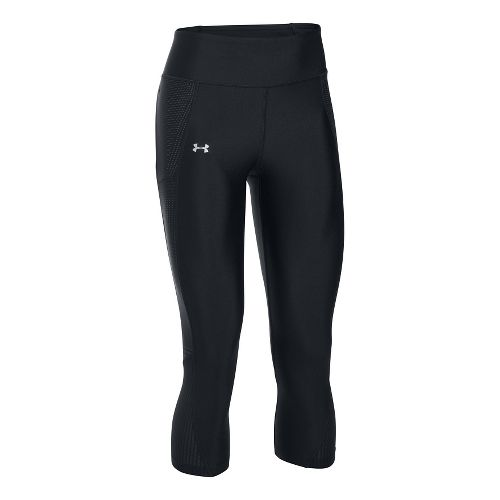 Womens Under Armour Fly By Printed Capri Tights - Black/Metallic L