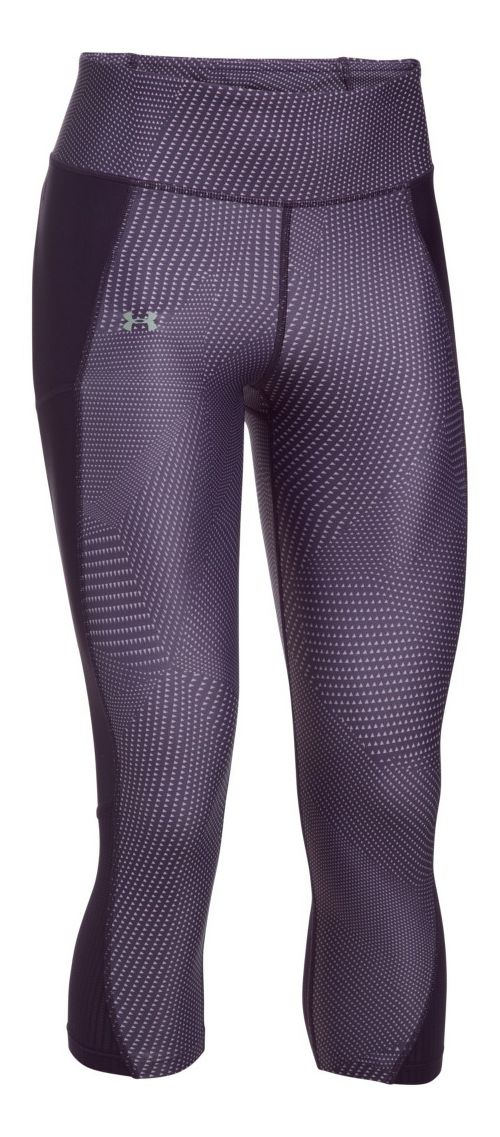 Womens Under Armour Fly By Printed Capri Tights - Imperial Purple L