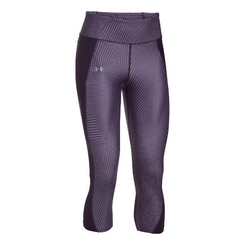 Womens Under Armour Fly By Printed Capri Tights - Imperial Purple XL
