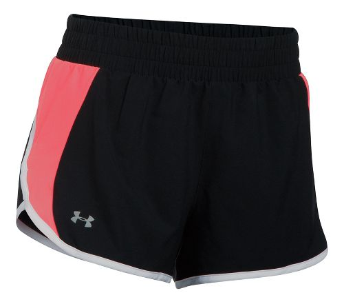 Womens Under Armour Launch Tulip Lined Shorts - Black/Marathon Red XL