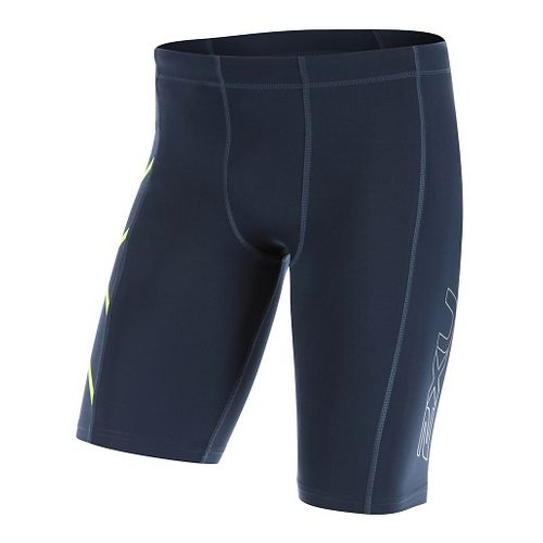 Mens 2XU TR2 Compression & Fitted Shorts - Ombre Blue/Gecko L