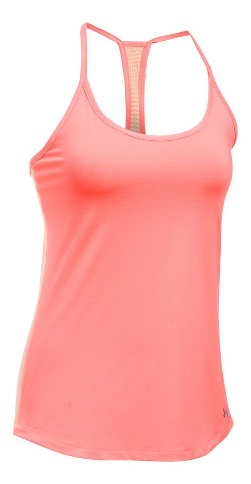 Womens Under Armour Fly By Racerback Sleeveless & Tank Technical Tops - Orange/Peach M