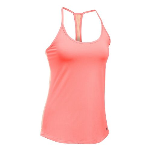 Womens Under Armour Fly By Racerback Sleeveless & Tank Technical Tops - Orange/Peach S