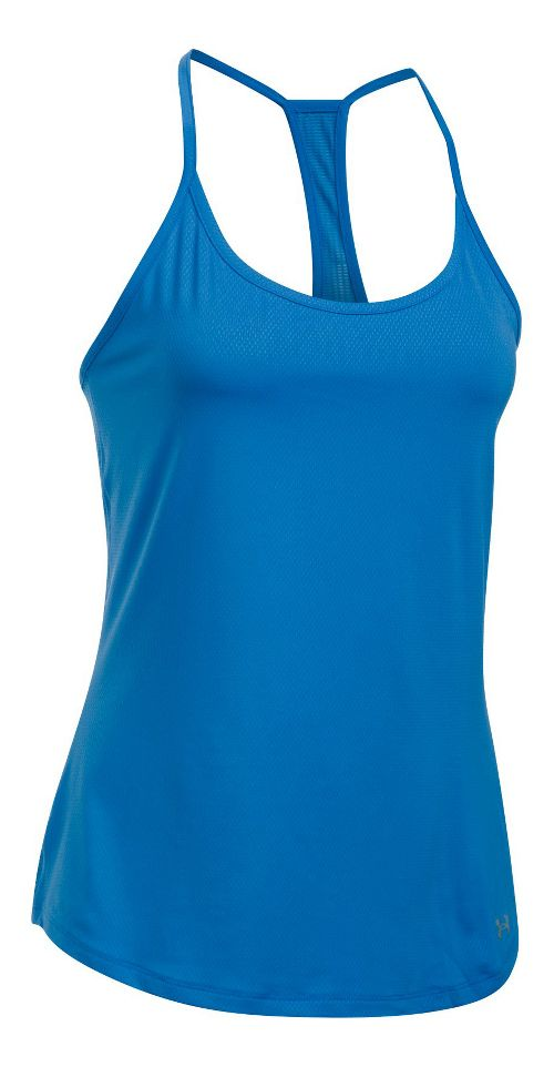 Womens Under Armour Fly By Racerback Sleeveless & Tank Technical Tops - Mediterranean M
