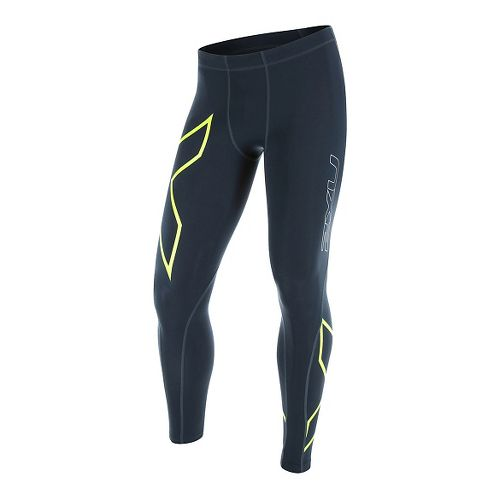 Mens 2XU TR2 Compression Tights & Leggings Pants - Ombre Blue/Gecko XL