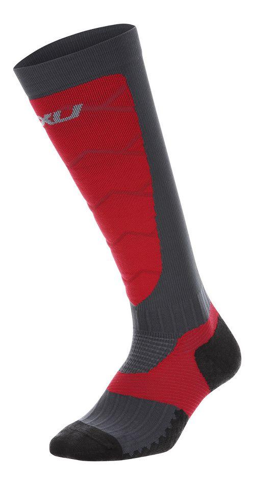 Mens 2XU Elite Compression Alpine Socks Injury Recovery - Titanium/Rio Red XL