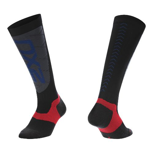 Mens 2XU Elite Compression Alpine Socks Injury Recovery - Black/Grey L