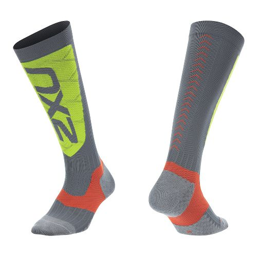 Mens 2XU Elite Compression Alpine Socks Injury Recovery - Grey/Green S