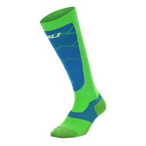 Mens 2XU Elite Compression Alpine Socks Injury Recovery - Gecko Glow/Cobalt L