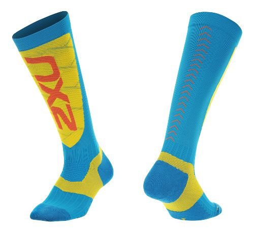 Mens 2XU Elite Compression Alpine Socks Injury Recovery - Blue/ Yellow XS
