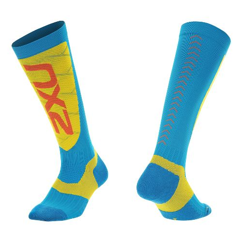 Mens 2XU Elite Compression Alpine Socks Injury Recovery - Blue/ Yellow L