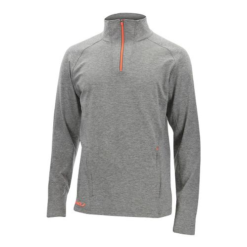 Mens 2XU Formsoft 1/4 Zip Long Sleeve Technical Tops - Moon Grey/Orange M
