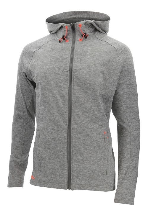 Mens 2XU Formsoft Long Sleeve Hoodie Casual Jackets - Moon Grey/Orange S